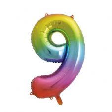 Number 9 Ombre Super Shape Number Foil Balloon